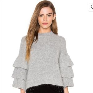Endless Rose grey ruffle sleeve sweater